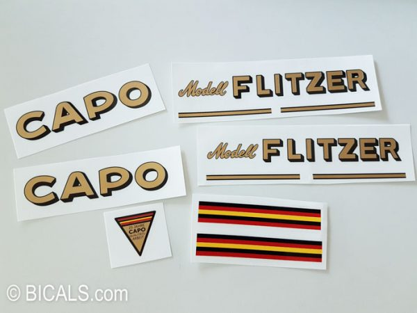 Capo model Flitzer bicycle decal set BICALS
