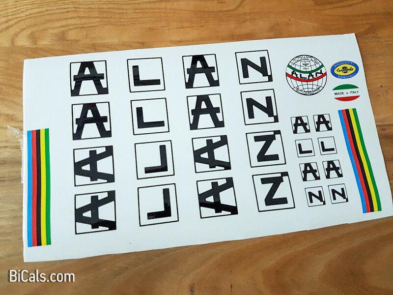 Set 312 Black On White Background Alan Bicycle Decals Transfers Stickers