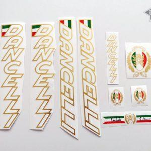 Dancelli V6 decal set white letters golden outline BICALS 1