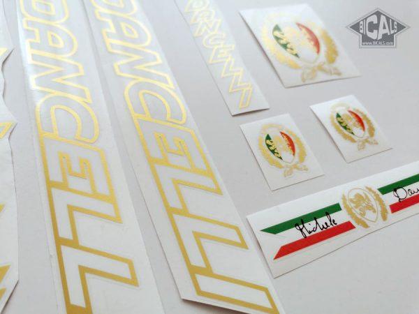 Dancelli V6 decal set white letters golden outline BICALS