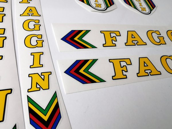 FAGGIN Campione del mondo Cicli yellow bicycle decal set 1