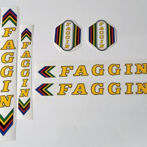 FAGGIN Campione del mondo Cicli yellow bicycle decal set